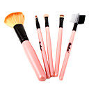 5PCS Portable Travelling Brush Set Pink Handle