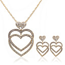 Heart-shaped 18K Gold Plated And  Czech Rhinestones Jewelry Set Including Necklace And Earrings