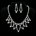Marvelous Rhinestones Alloy And Imitation Pearl Wedding Bridal Jewelry Set,Including Necklace And Earrings