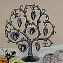 Alloy Family Tree Photo Frame With 7 Hanging Heart Shaped Frames
