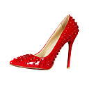 Stylish Rivet Patent Leather Stiletto Heel Pointy Toe Party/Evening Shoes