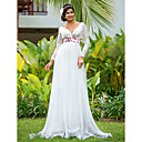 Sheath/Column V-neck Floor-length Chiffon And Lace Wedding Dress
