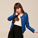 Long Sleeve Collarless PU Casual/Party Jacket(More Colors)