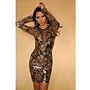 Deep V Backless Sequin Dress(Bust:86-102cm Waist:58-79cm  Hip:90-104cm Length:78cm)
