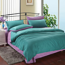 4PCS Green & Purple Print Cotton Duvet Cover Set