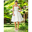 A-line Sweetheart Knee-length Satin Wedding Dress