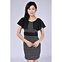ANLANDA Round Neck Stripes Bodycon Dress
