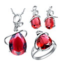 18K Hot Plated With Red Crystal Women's Including Pendant Earrings Rings