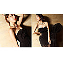 Women's Strapless Ruffled Pleated Maxi Dress