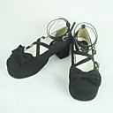 Handmade Black PU Leather 4.5cm High Heel Classic Lolita Shoes with Bow