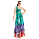 A-line/Princess One-shoulder Floor-length Printed Chiffon Evening Dress