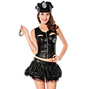 Sexy Cool Black Polyester Police Officer Uniform with Badge and Handcuffs(5 Pieces)