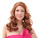 Lace Front Mixed Hair Medium Auburn Wavy Hair Wigs
