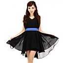 BIOPLAZM Summer Korea Black Ruffle Chiffon Sleeveless Fairy Dress