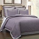 5PCS Purple Pattern Print Linen Duvet Cover Set