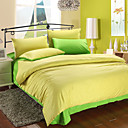 4PCS Yellow & Green Print Cotton Duvet Cover Set