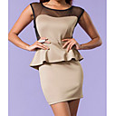 Apricot Peplum Dress with Mesh Hollow-out Back