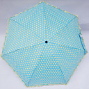 Ruffled Trim Polk Dots Sweet Lolita Folding Umbrella