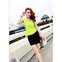 Women's One Shoulder Rhinestone Decor Tops With Bodycon Mini Skirt