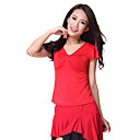 Dancewear Short Sleeve Crystal Cotton and Viscose Latin Dance Top For Ladies More Colors