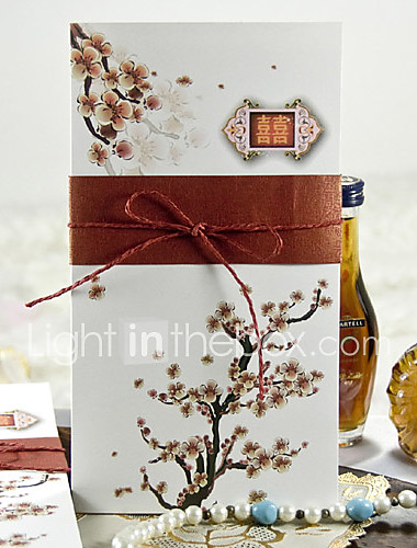 Elegant Cherry Blossom Wedding Invitation With String Bow Set of 50